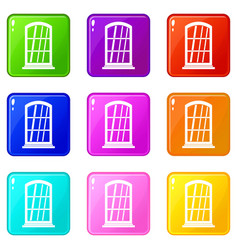 White narrow window set 9 vector