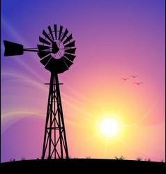 Windmill australian silhouette sunset vector