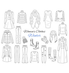 Women s clothes collection winter outfit vector