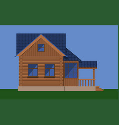 wooden house with attic and porch vector image