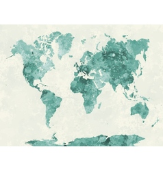 World map in watercolor green vector image