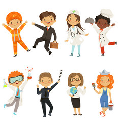 Young kids boys and girls of different professions vector