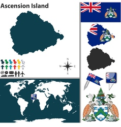 Ascension island map world vector image