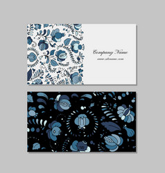Business cards design russian gzhel ornament vector