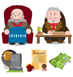 elderly man in the chair the man at the table vector image