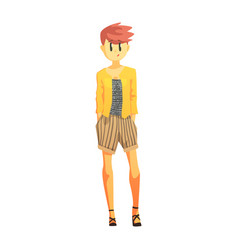 girl in stripy shorts and yellow jacket with short vector image vector image