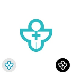 Man with cross religion or medical logo vector image vector image