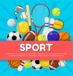sport poster design of different equipment on vector image vector image