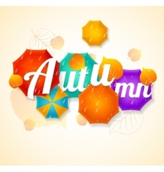 Autumn umbrella lettering concept vector