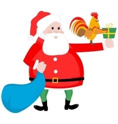 Christmas Santa and cock vector image vector image