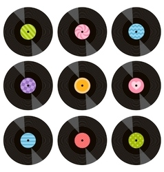 set of vinil records vector image