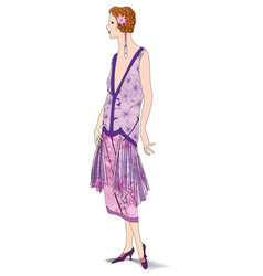 stylish cloth woman fashion dressed girl 1930s vector image vector image