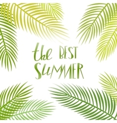 Summer day lettering poster with palm vector image