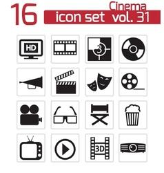 black cinema icon set vector image