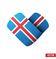 Flag icon in the form of heart I love Iceland vector image vector image