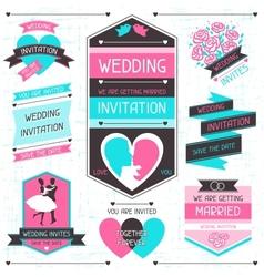 Wedding invitation retro set of design elements vector image vector image