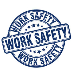 Work safety blue grunge stamp vector