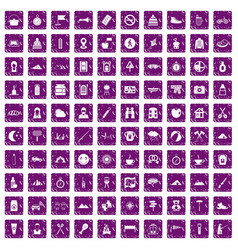 100 family camping icons set grunge purple vector