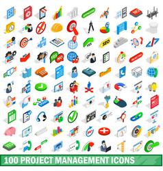 100 project management icons set isometric style vector
