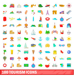 100 tourism icons set cartoon style vector image