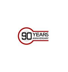 90 years anniversary with circle outline red vector