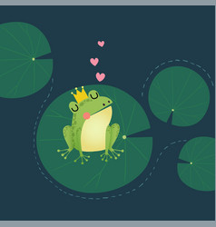 A cute little frog prince with golden crown vector