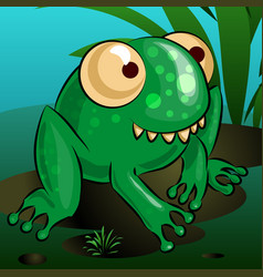 a merry cartoon frog is sitting on a swamp vector image