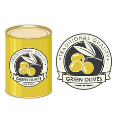 A tin can with label green olives vector