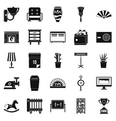 Accommodation icons set simple style vector