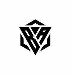 Ba logo monogram with triangle and hexagon modern vector