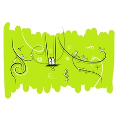 Banner with funny birds and cats for your design vector image