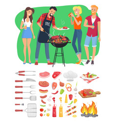 Bbq barbecue people and tools vector