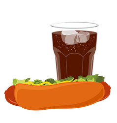 big hot dog and glass of cola soda vector image