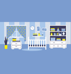 Boys baby room with furniture vector