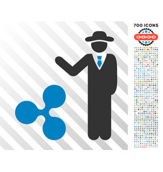 Businessman show ripple flat icon with bonus vector