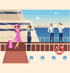 Captain on sea ship sailor cruise team boat vector