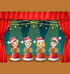 Cartoon children in red santa costume singing chri vector