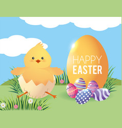 chick inside egg broken with easter decoration vector image