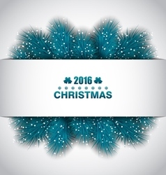 Christmas Border with Blue Fir Branches vector