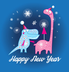 christmas card with dinosaurs vector image