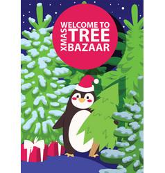 christmas winter tree bazaar sale saleable vector image