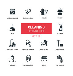 Cleaning - line design silhouette icons set vector
