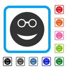 Clever smiley framed icon vector