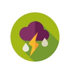 Cloud Rain Lightning flat icon Weather vector image