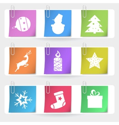 Color stapled christmas cards eps10 vector