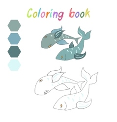 Coloring book fish kids layout for game vector image
