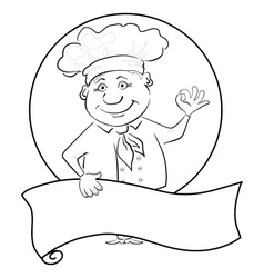 Cook with poster outline vector image