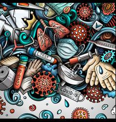 coronavirus hand drawn doodles border vector image