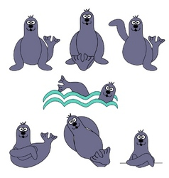 cute seal set vector image