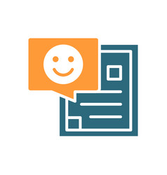 Document with happy face colored icon profile for vector